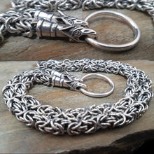 Load image into Gallery viewer, Custom Made Silver Viking Necklace with Wolf Heads - Viking Jewelry