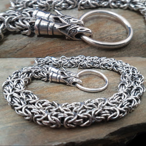 Custom Made Silver Viking Necklace with Wolf Heads - Viking Jewelry