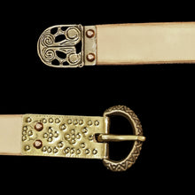 Load image into Gallery viewer, Fully Customisable Handmade Leather Viking Belt with Bronze Replica Fittings
