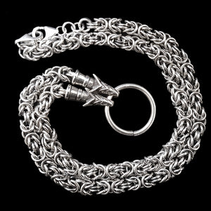 Thick Silver Link Chain Necklace with Wolf Heads - Viking Jewelry