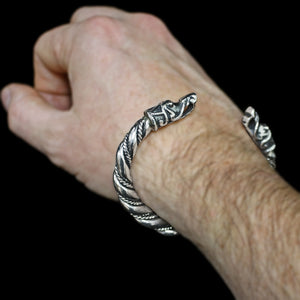 Large Twisted Silver Arm Ring With Gotlandic Dragon Heads on Wrist - Viking Bracelets