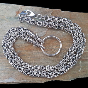Thick Silver Link King Chain Necklace with Wolf Heads on Rock - Viking Jewelry