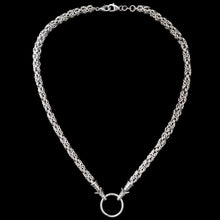 Load image into Gallery viewer, Thick Silver Link King Chain Necklace with Wolf Heads and Split Ring - Viking Jewelry