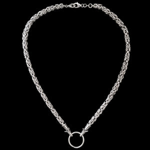 Thick Silver Link King Chain Necklace with Wolf Heads and Split Ring - Viking Jewelry