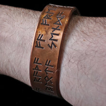 Load image into Gallery viewer, Wearing Runic Viking Havamal Copper Arm Ring - Viking Jewelry