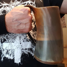 Load image into Gallery viewer, Customer Holding Large Horn Beer Mug - Viking Feasting Supplies