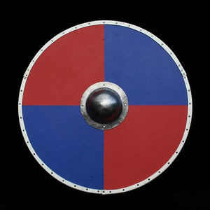 Viking Re-Enactment Shield in Blue and Red Quarters - Viking Warrior Supplies
