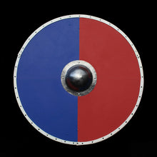 Load image into Gallery viewer, Viking Re-Enactment Shield in Blue and Red Halves - Viking Warrior Supplies
