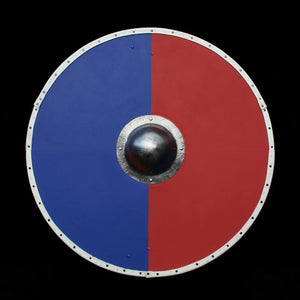 Viking Re-Enactment Shield in Blue and Red Halves - Viking Warrior Supplies
