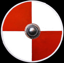 Load image into Gallery viewer, Viking Re-Enactment Shield in White and Red Quarters - Viking Warrior Supplies