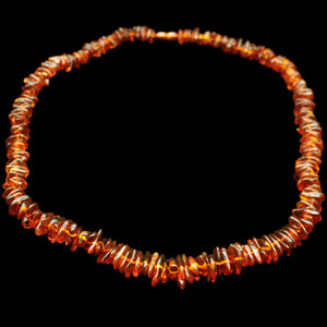 Polished Amber Chip Necklace Front - Amber Viking Jewelry