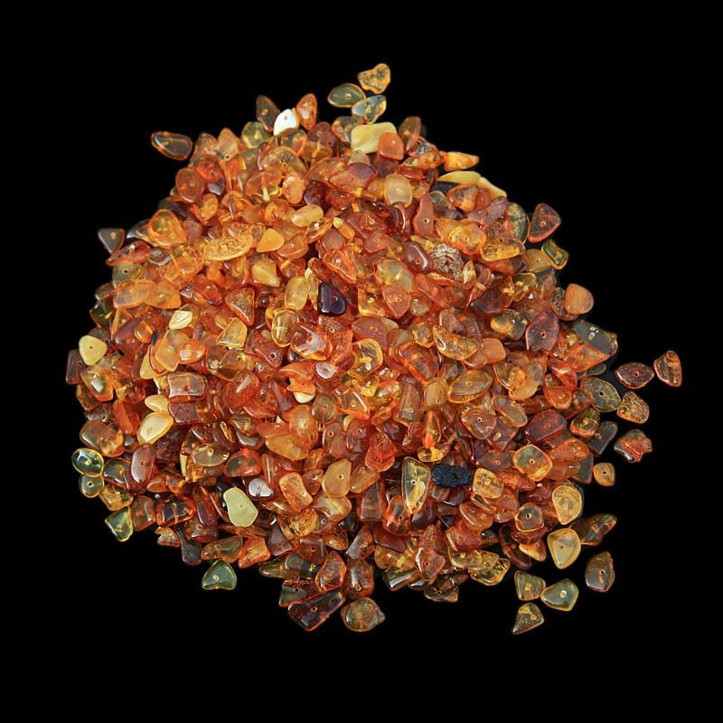 Polished Amber Chips With Drilled Holes