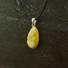 Load image into Gallery viewer, Yellow Amber Amulet Pendant on Steel - Viking Jewelry