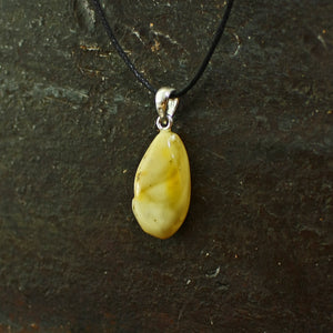 Yellow Amber Amulet Pendant on Steel - Viking Jewelry