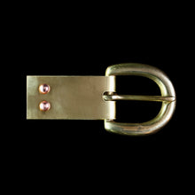 Load image into Gallery viewer, Plain Brass Buckle Plate with Buckle & Rivets - Belts & Fittings