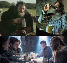 Load image into Gallery viewer, Game of Thrones Drinking from our Horn Beer Mugs - Viking Feasting Supplies