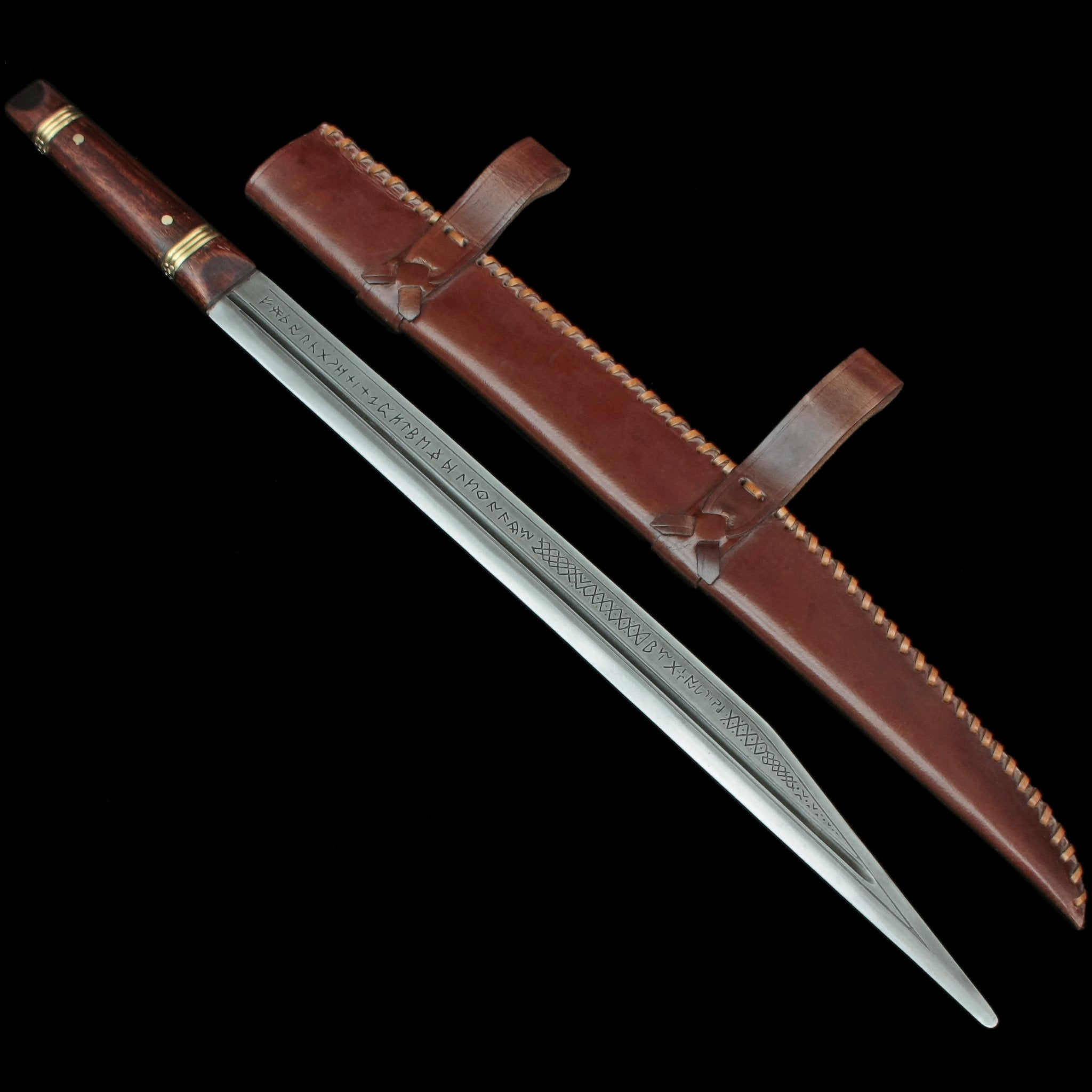 Runic Saxon Seax / Scramasax with Fitted Leather Sheath