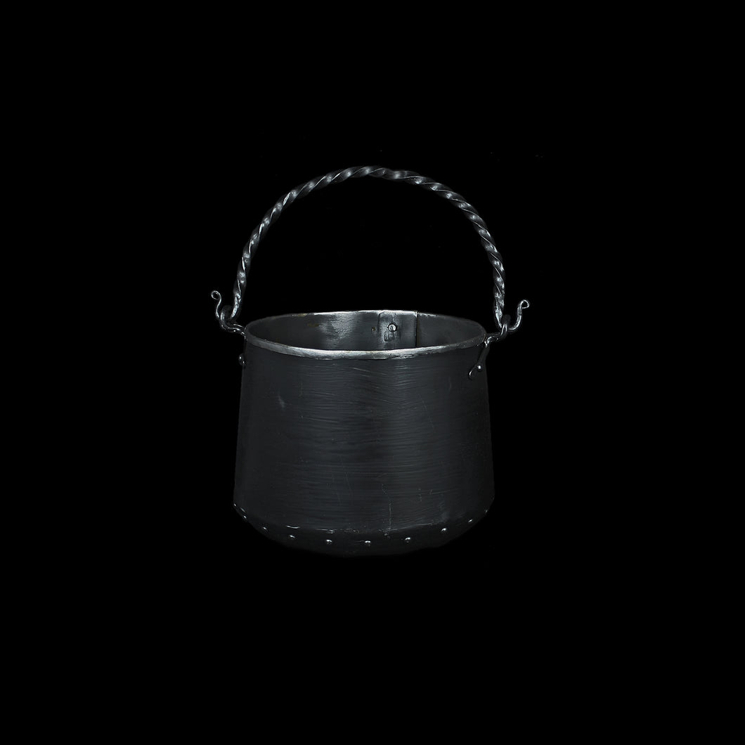 Hand-Forged Steel Cauldron with Cast Iron Handle
