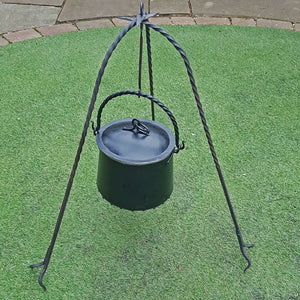 Hand-Forged Iron Cauldron Stand with Cauldron Outside