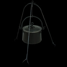 Load image into Gallery viewer, Hand-Forged Iron Cauldron Stand with Cauldron