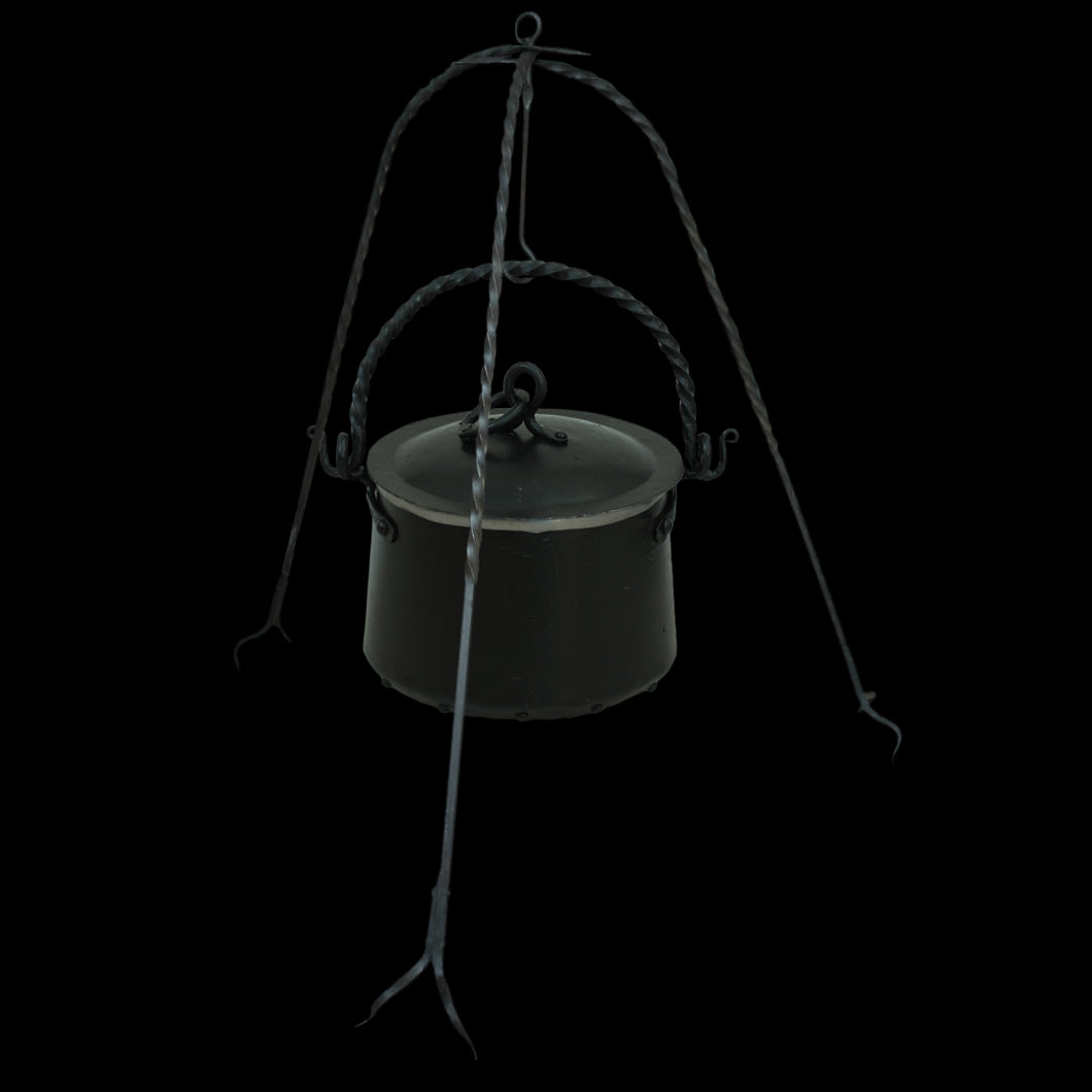 Hand-Forged Iron Cauldron Stand with Cauldron