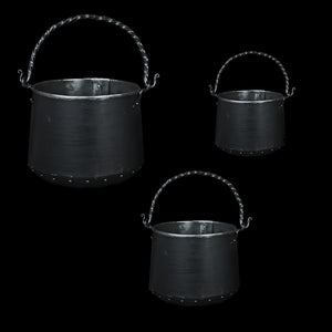 Hand-Forged Iron Cauldrons in 3 Sizes