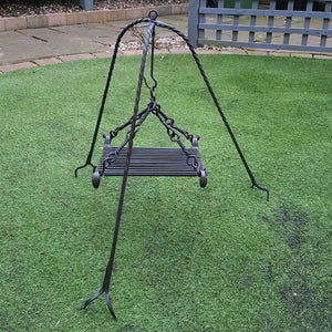 Hand-Forged Iron Cauldron Stand with Grill Outside