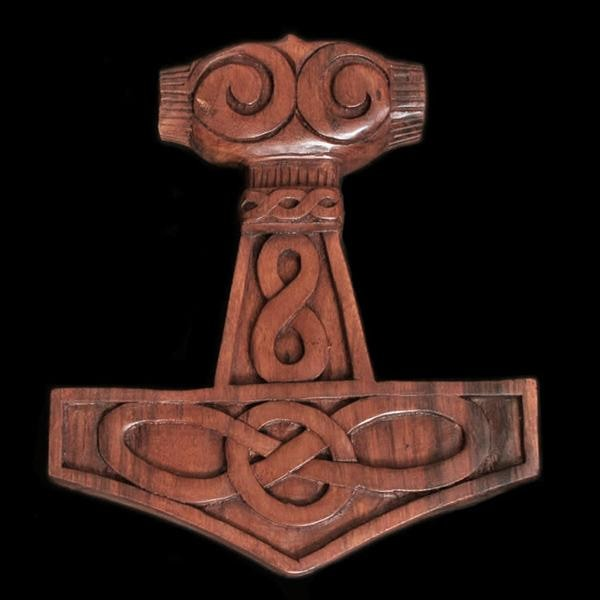 Wooden Thors Hammer Wall Hanger With Knotwork - Wall Hangings