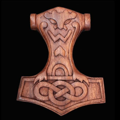 Wooden Thors Hammer Wall Hanger With Pagan Head - Wall Hangings