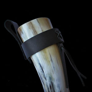 Small Polished Drinking Horn - With Simple Black Leather Belt Holder - Viking Drinking Horns