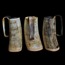Load image into Gallery viewer, Large Rustic Game of Thrones Horn Beer Mugs - Viking Feasting Supplies