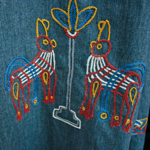 Women's Wool Viking Blue Hangerock Embroidery - Viking Design