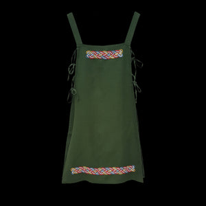 Handmade Green Linen Embroidered Women's Viking Hangerock / Apron