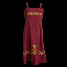 Load image into Gallery viewer, Embroidered Wool Viking Women's Hangerock / Overdress - Dark Red