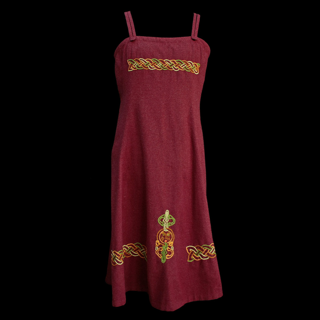 Embroidered Wool Viking Women's Hangerock / Overdress - Dark Red
