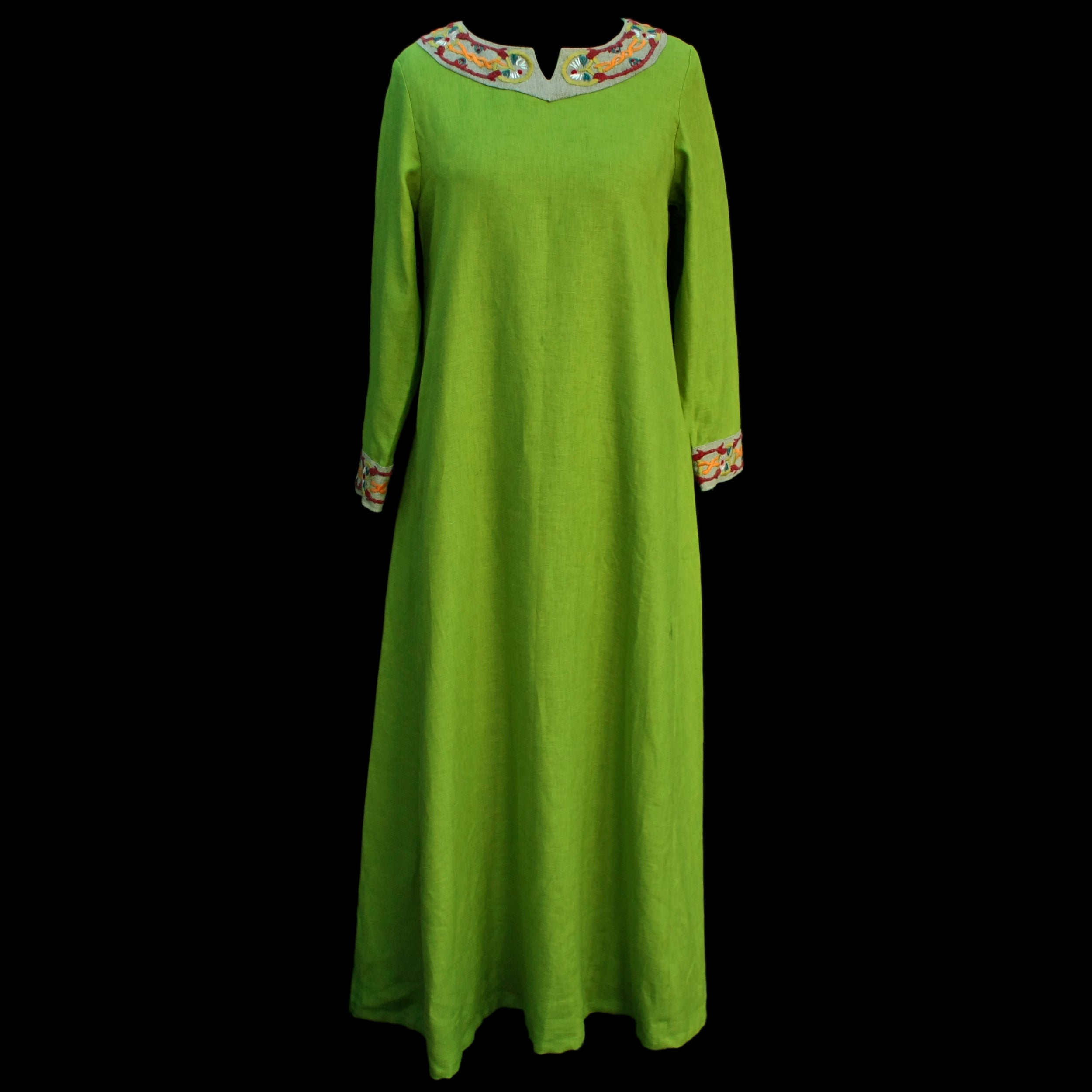 Green Linen Viking Women's Dress with Wool Embroidery