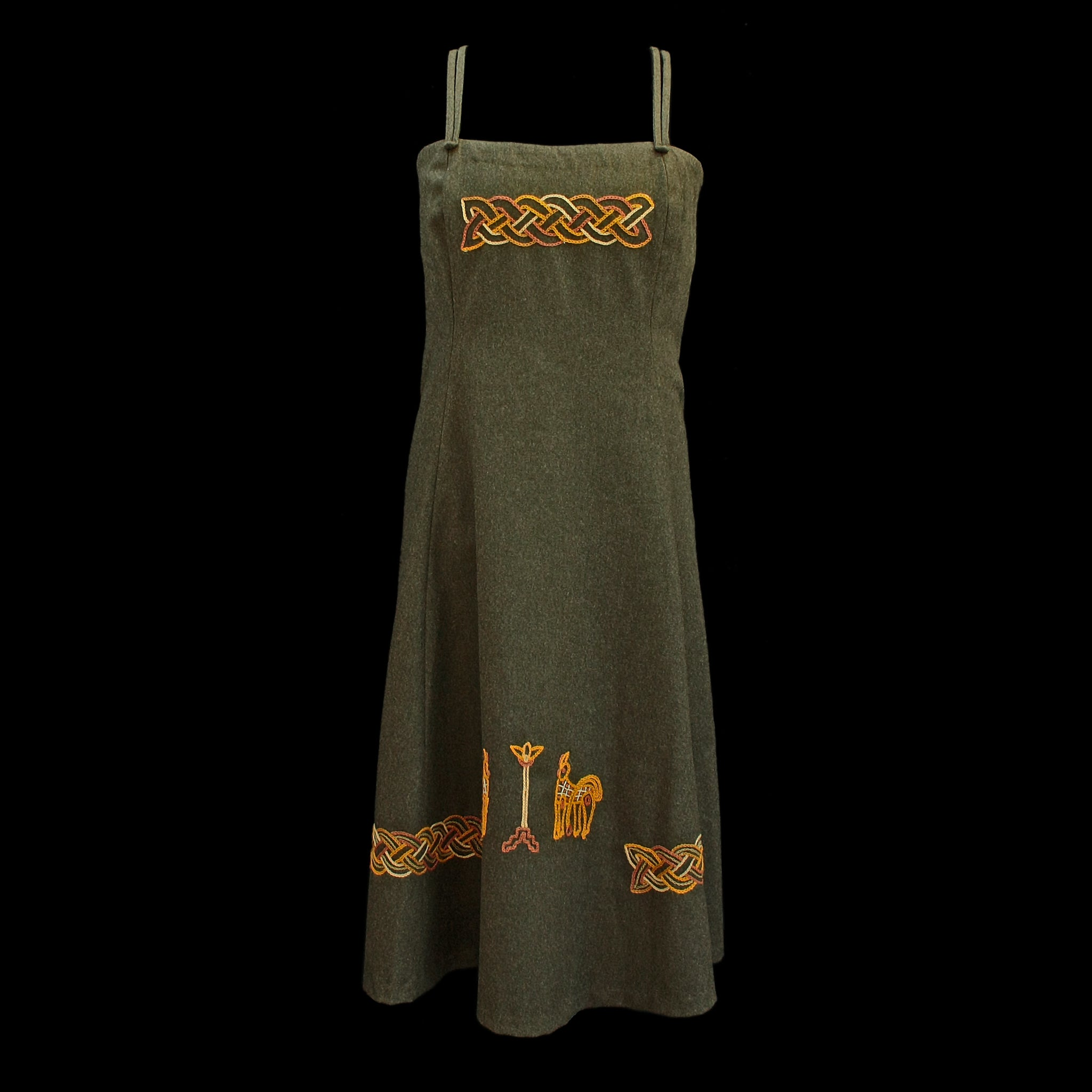 Women's Embroidered Wool Viking Hangerock / Overdress - Green