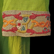 Load image into Gallery viewer, Green Wool Viking Women's Dress Cuffs with Wool Embroidery