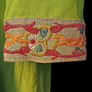 Green Wool Viking Women's Dress Cuffs with Wool Embroidery