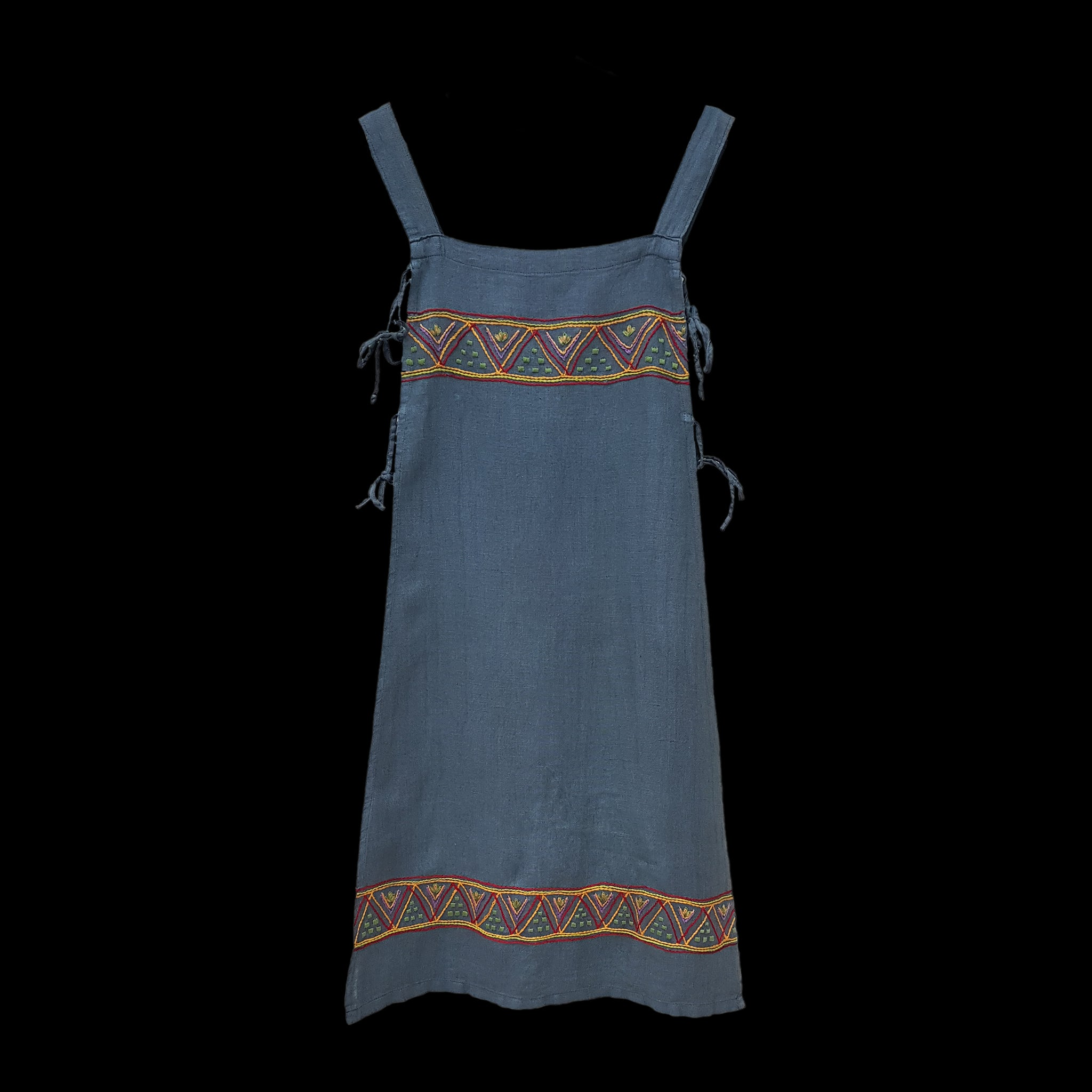 Handmade Blue Linen Embroidered Women's Viking Hangerock / Apron