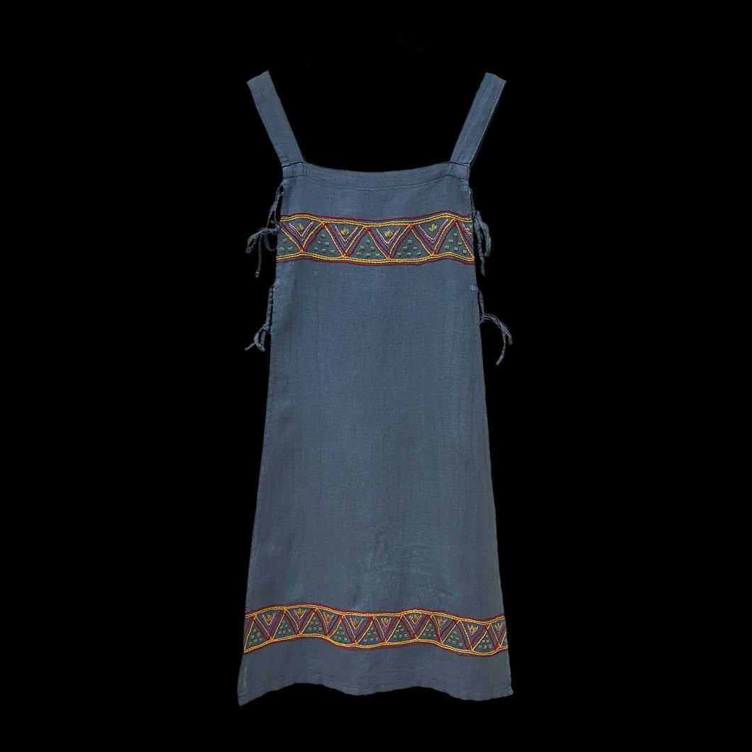 Handmade Blue Linen Embroidered Womens Viking Hangerock / Apron