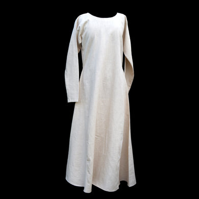 Natural Linen Viking Womens Dress - Round Neck