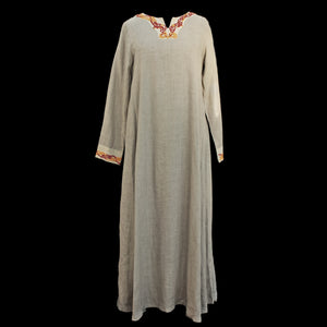 Natural Linen Viking Womens Dress with Wool Embroidery