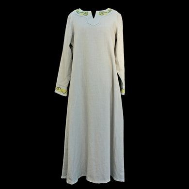 Unique Natural Linen Viking Womens Dress with Wool Embroidery