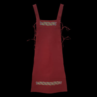 Handmade Red Linen Embroidered Women's Viking Hangerock / Apron