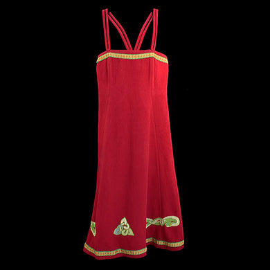 Embroidered Wool Viking Women's Hangerock / Overdress - Red