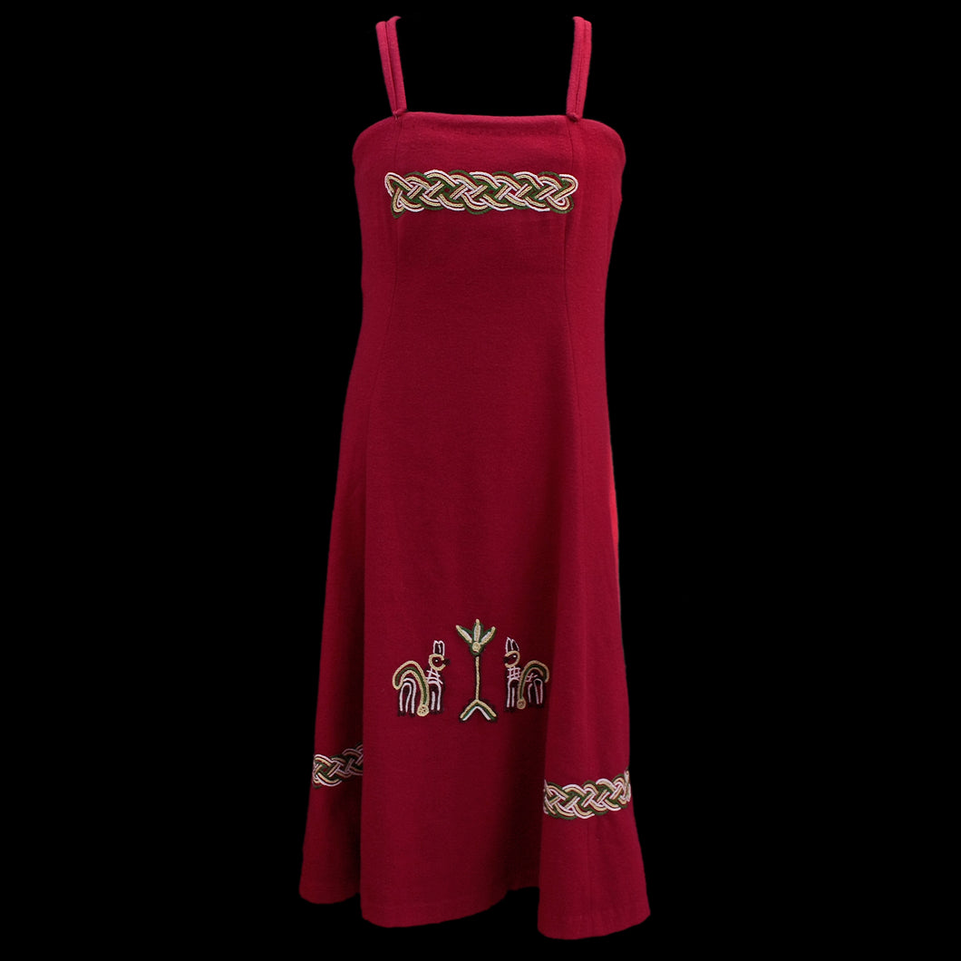 Womens Embroidered Wool Viking Hangerock / Overdress - Red