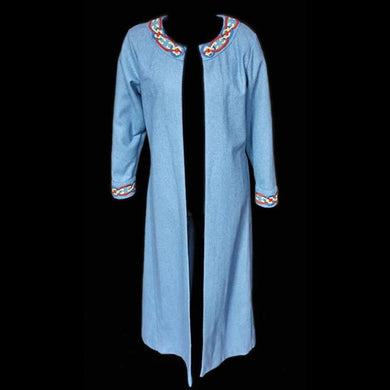Embroidered Blue Wool Womens Viking Coat - Womens Viking Clothing