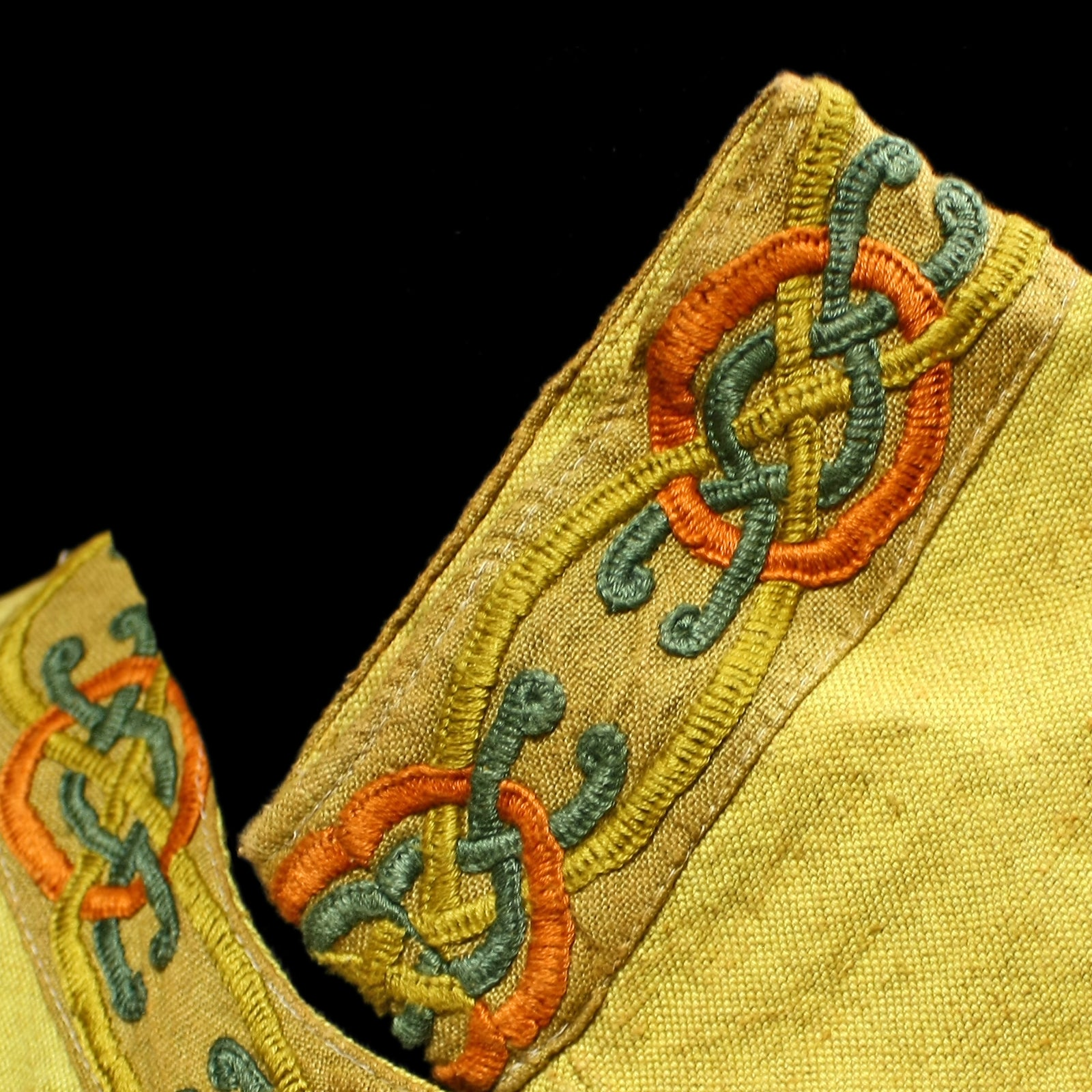 Yellow Linen Viking Women's Dress with Wool Embroidery.