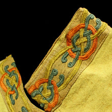 Load image into Gallery viewer, Yellow Linen Viking Women's Dress with Wool Embroidery - Cuffs